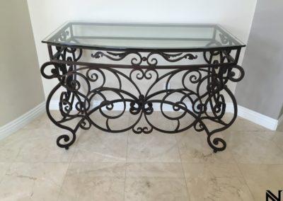 metal table in ornamental design